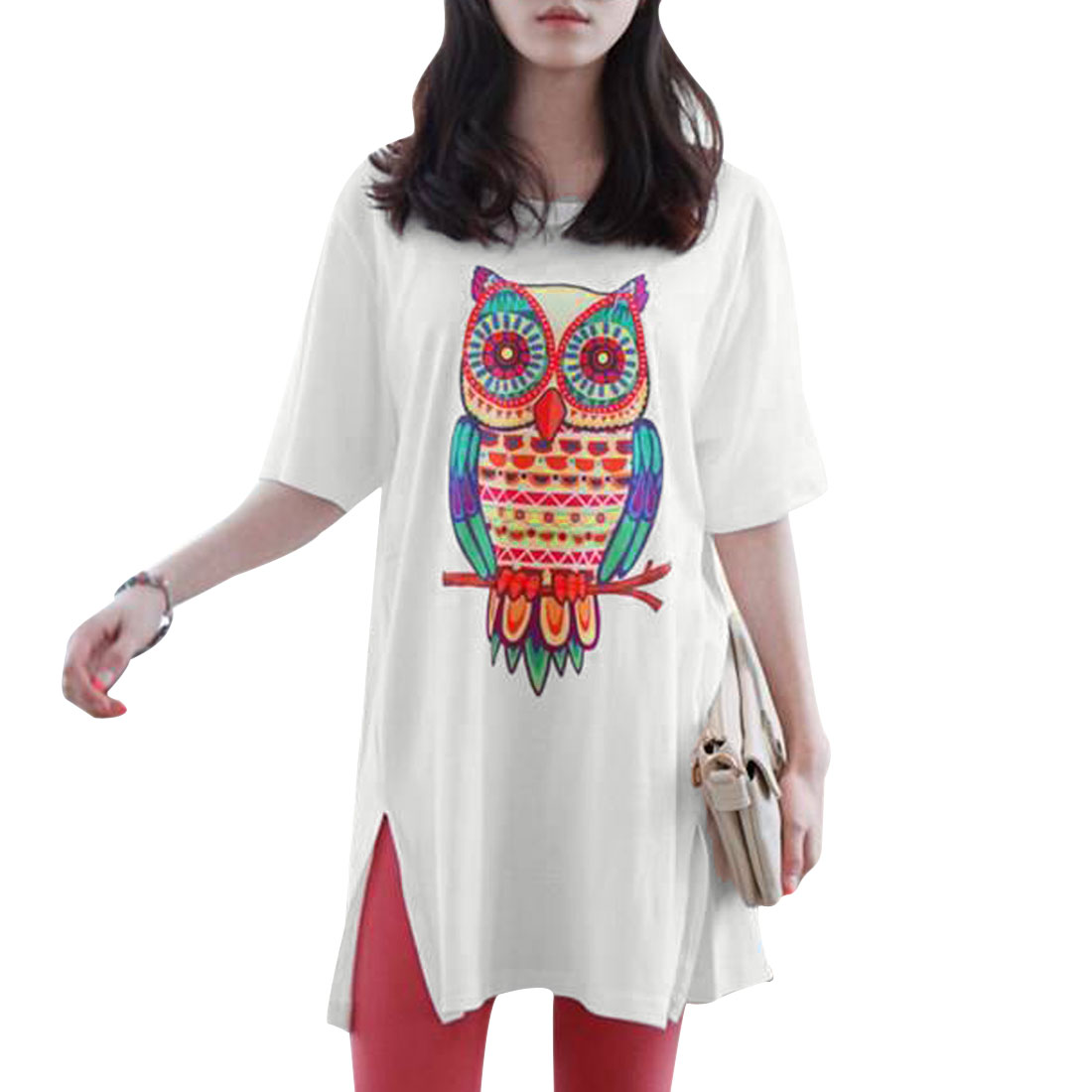 Woman New Fashion Round Neck Short Sleeve Owl Pattern White Tunic Shirt M