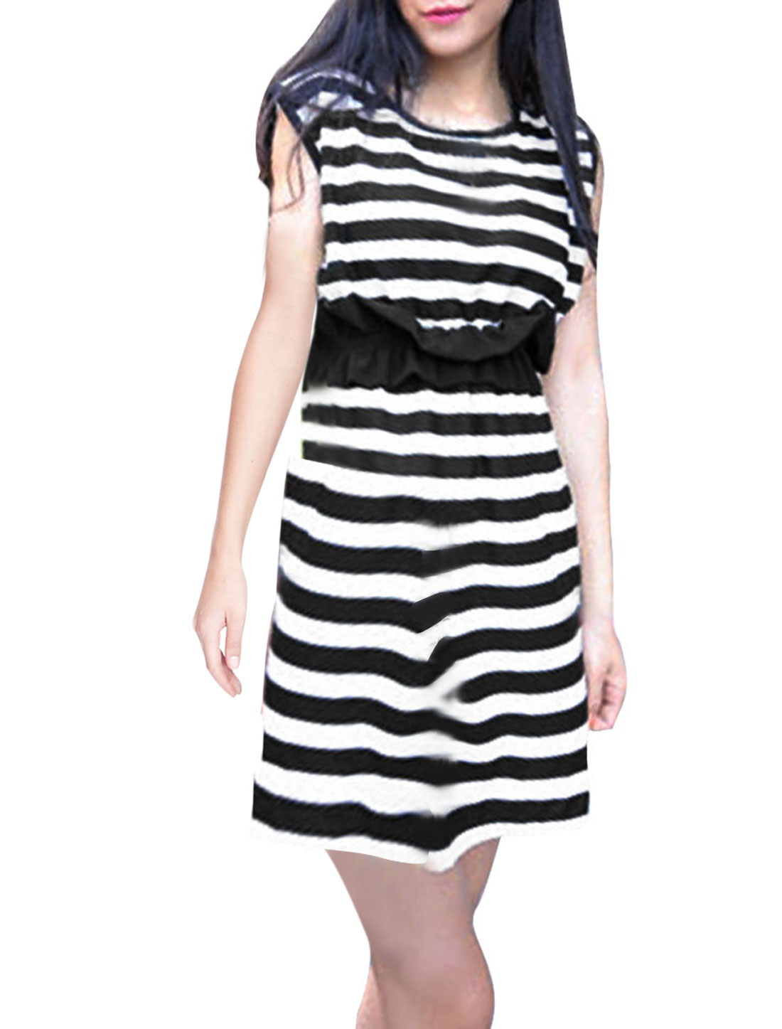 Lady Black White Stripes Round Neck Elastic Waist Dress XS