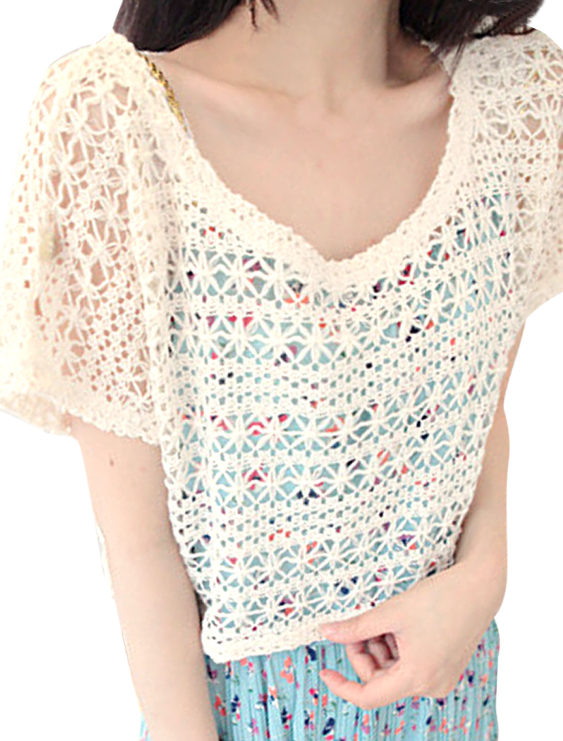 Woman Scoop Neck Short Dolman Sleeve Crochet Hollow Out Beige Cropped Tops S