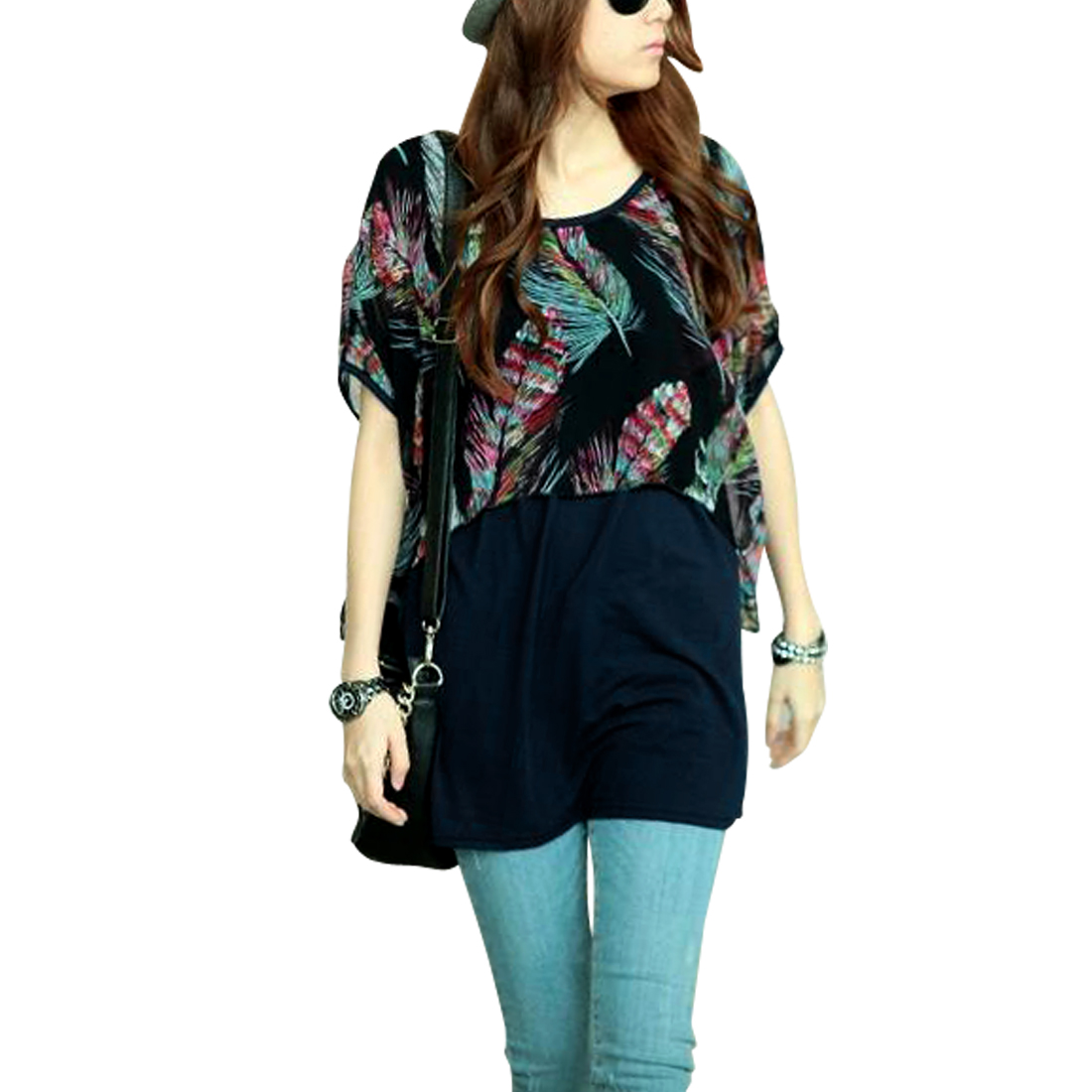 Ladies Chic Round Neck Short Dolman Sleeve Feather Pattern Dark Blue Tops S