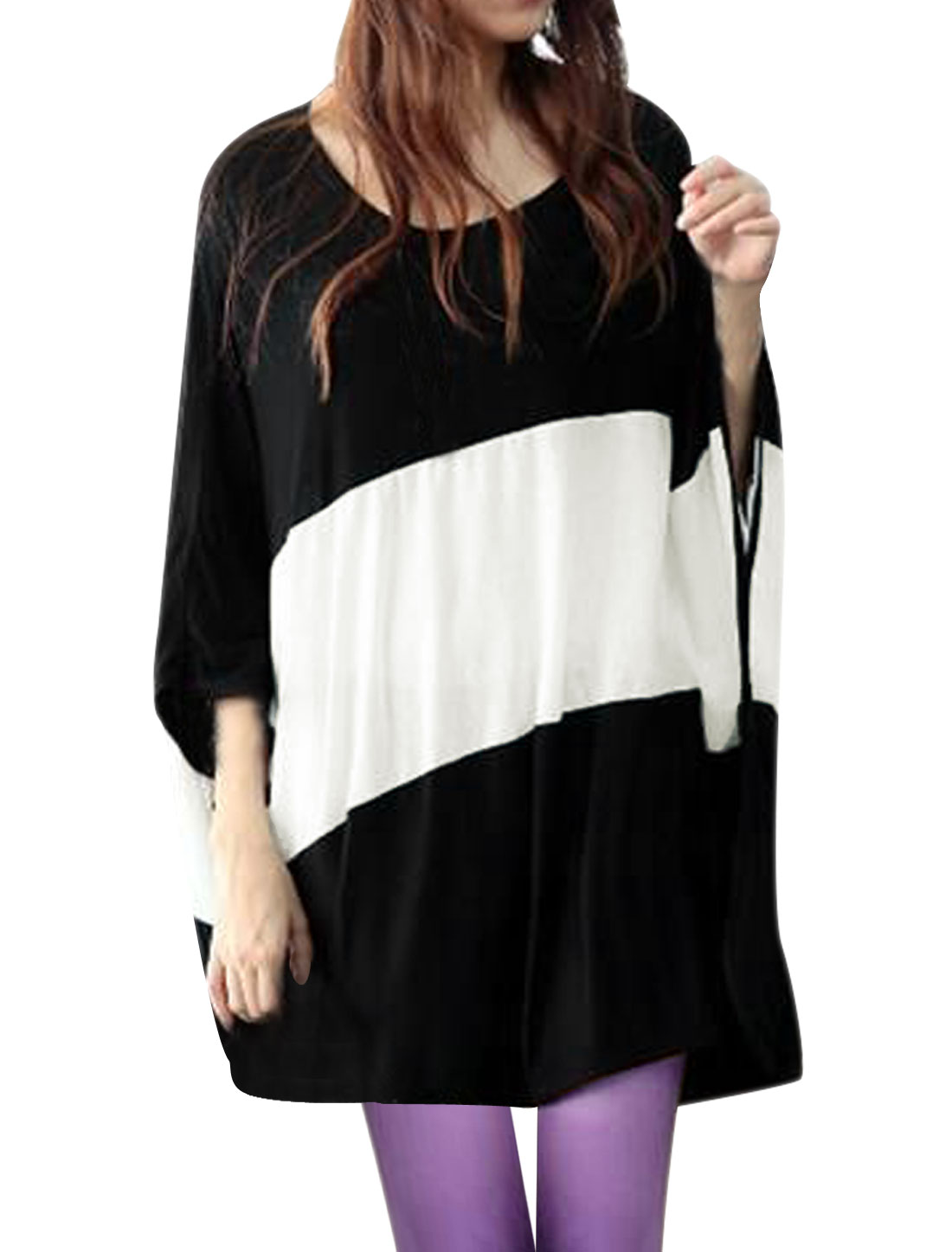 Lady Dolman Sleeve Stretchy Loose Black White Blouse M