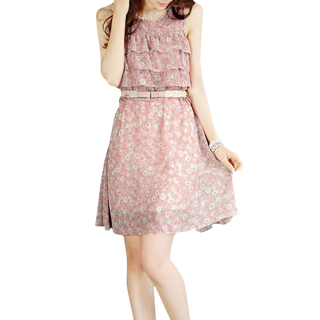 Woman Newly Round Neck Sleeveless Floral Pattern Pale Pink Knee-Length Dress XS
