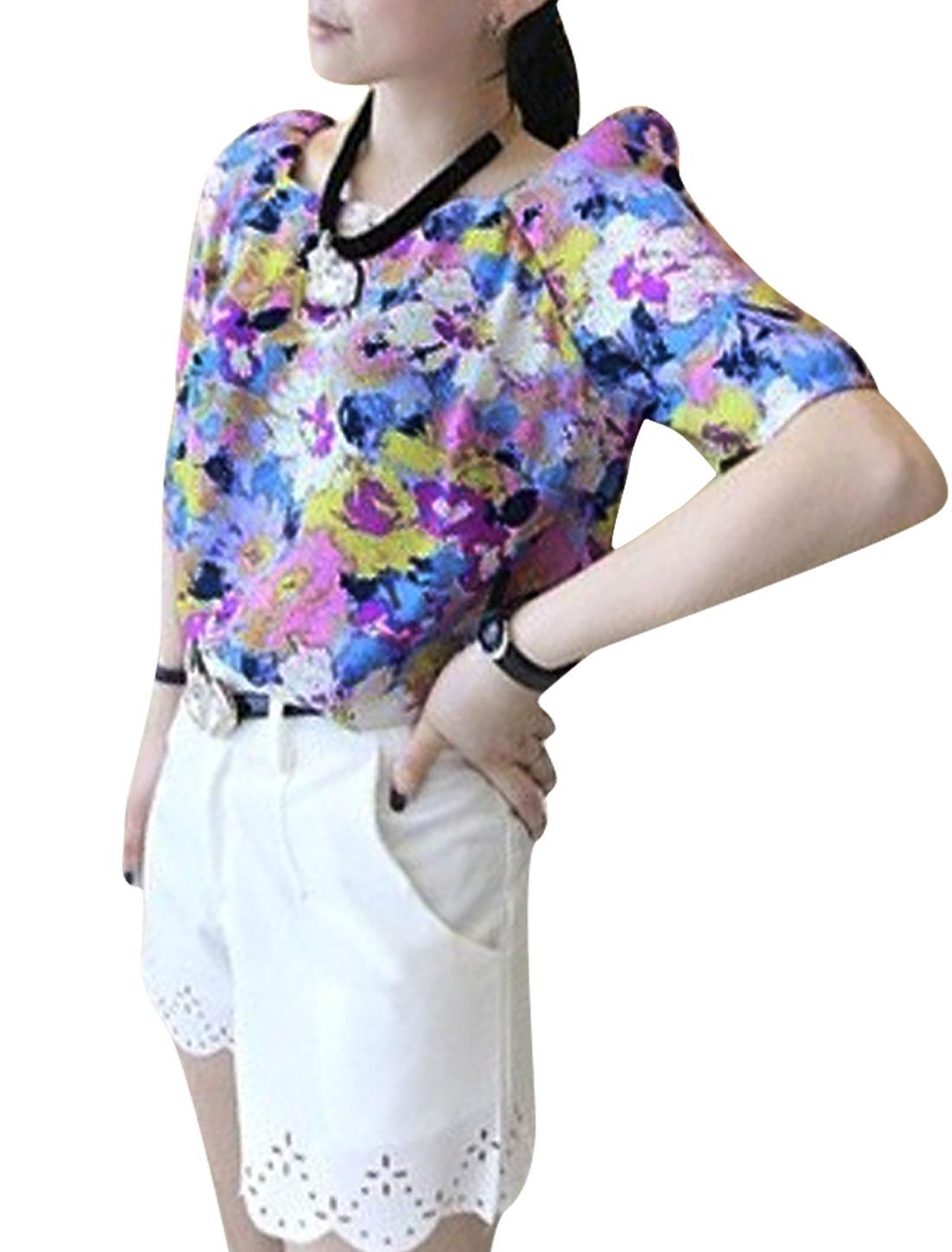 Ladies Square Neck Puff Sleeve Color Block Fashion Blouse Purple XS