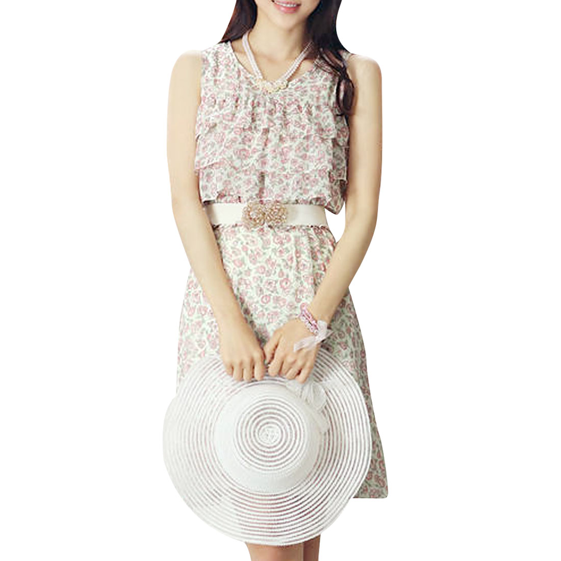 Ladies Round Neck Floral Prints Tiered Ruffles White Knee-Length Dress XS