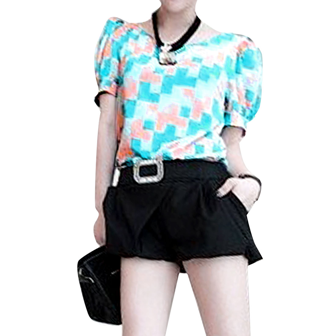 Women Chiffon Mosaic Shape Short Sleeve Loose Shirt Lake Blue XS