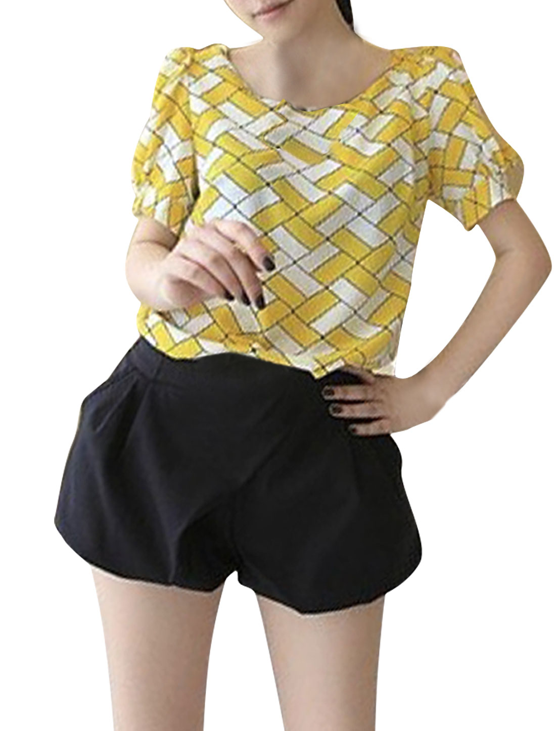 Women Puff Sleeve Round Neck Chiffon Plaids Pattern Blouse White Yellow XS