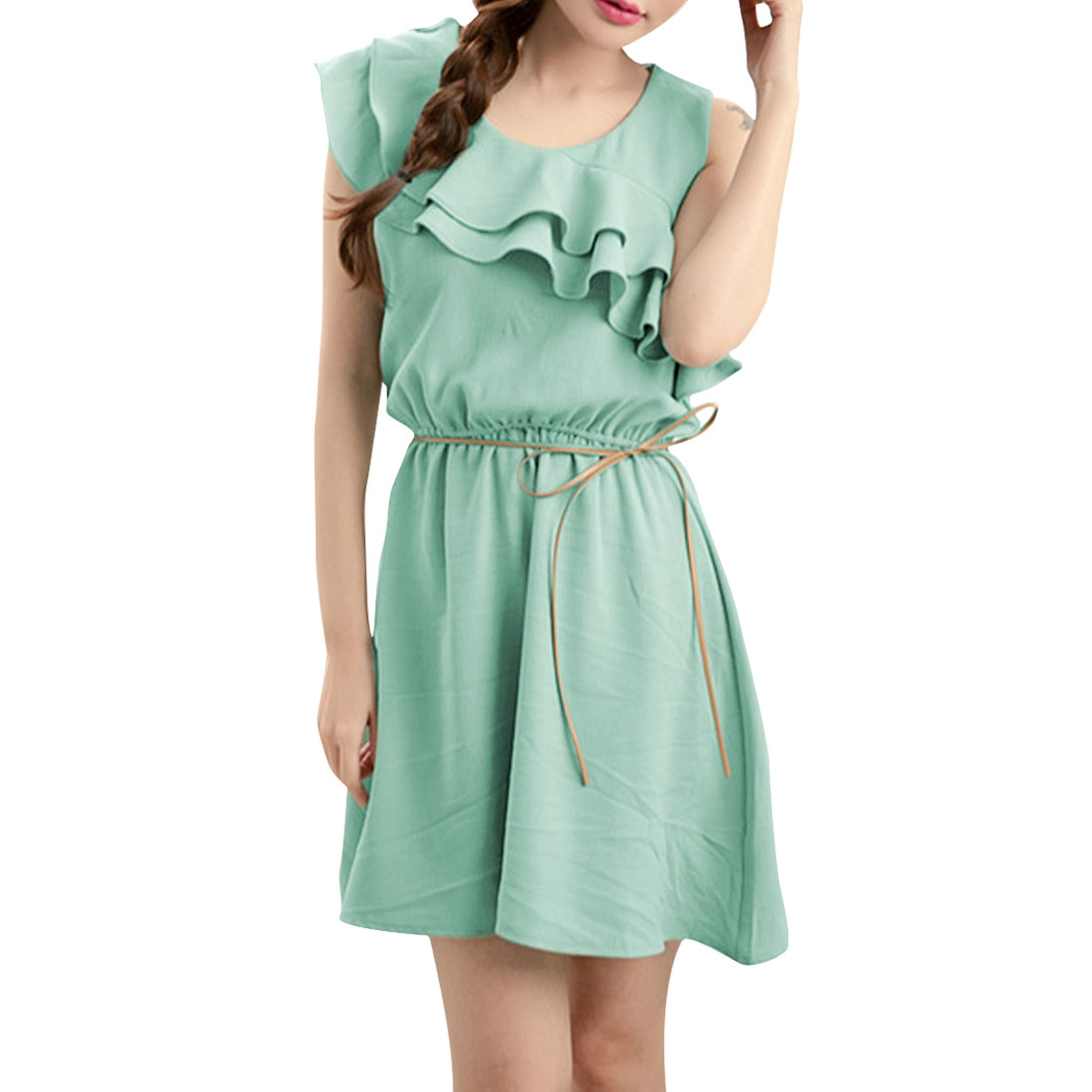 Woman Chic Mint Color Scoop Neck Sleeveless Elastic Waist Mini Dress S
