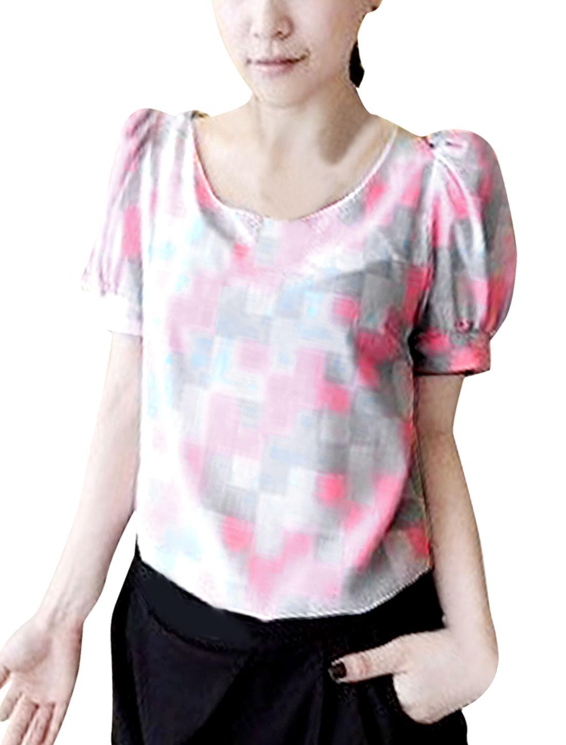 Ladies Round Neck Short Sleeve Chiffon Elegant Shirts Pink XS