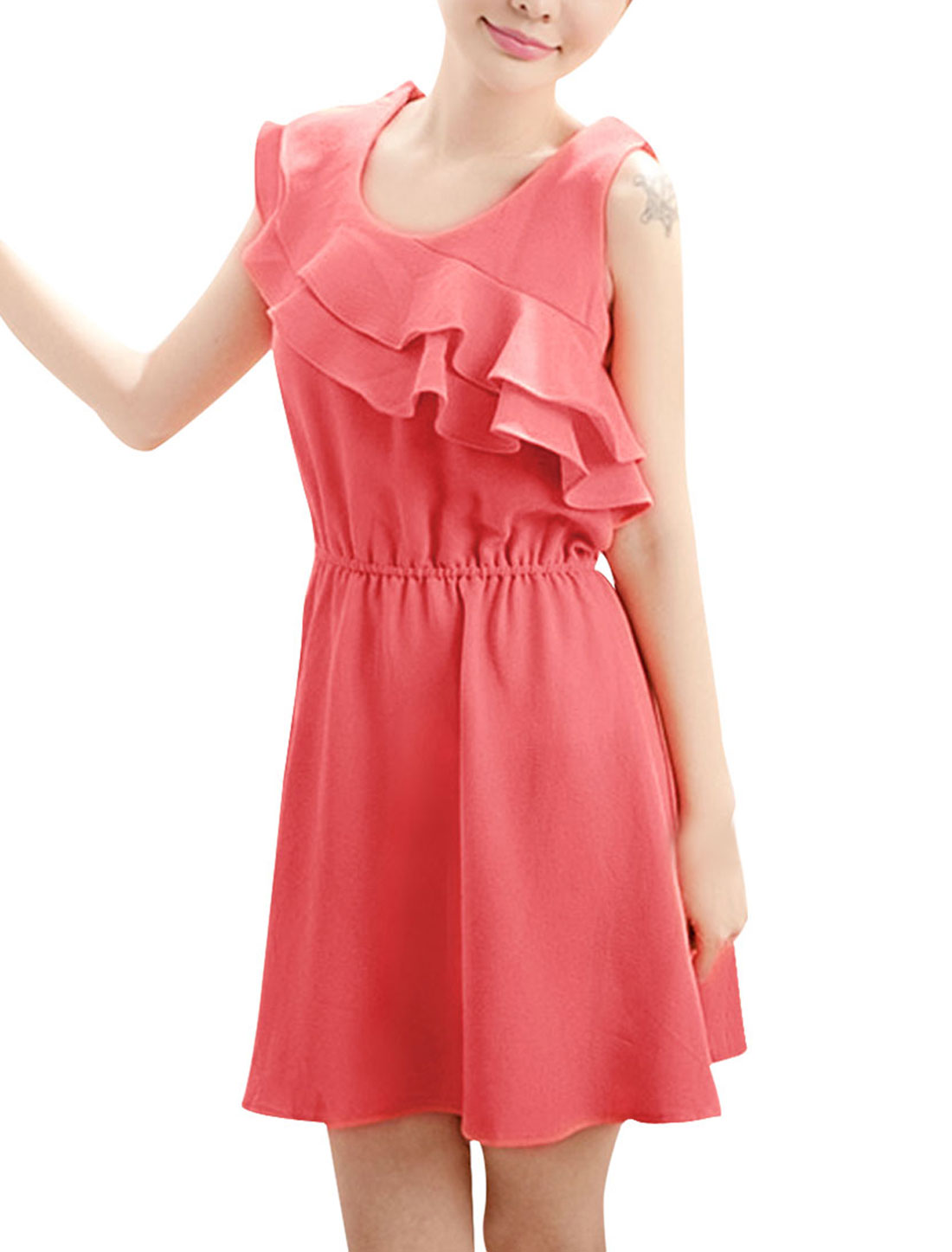 Women Stylish Coral Pink Elastic Waist Tiered Ruffles Decor Mini Dress S