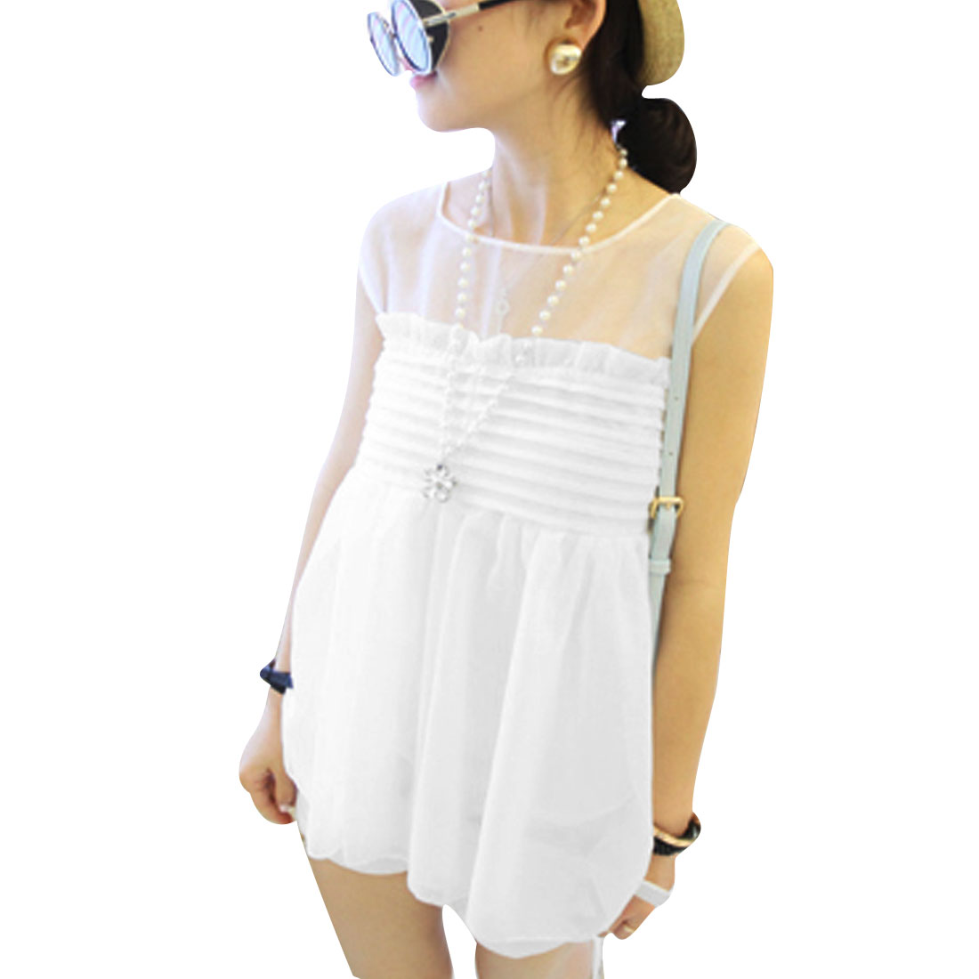 Lady Round Neck Sleeveless Solid Color Tops Blouses White XS