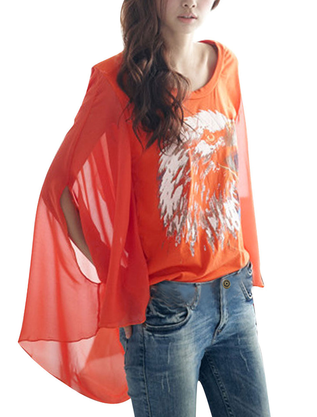 Ladies Round Neck Eagle Head Prints Chiffon Splice Orange Shirt XS