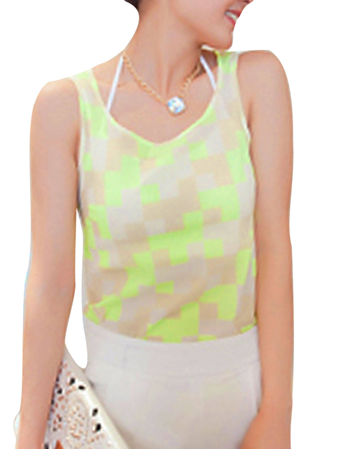 Ladies Round Neck Pullover Plaids Casual Tank Top Lime Khaki XS