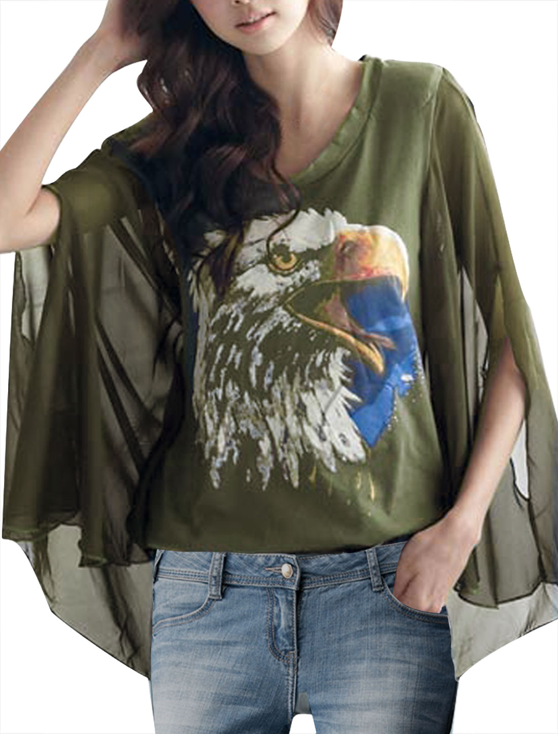Woman Newly Round Neck Sleeveless Eagle Pattern Army Green Shirt XS