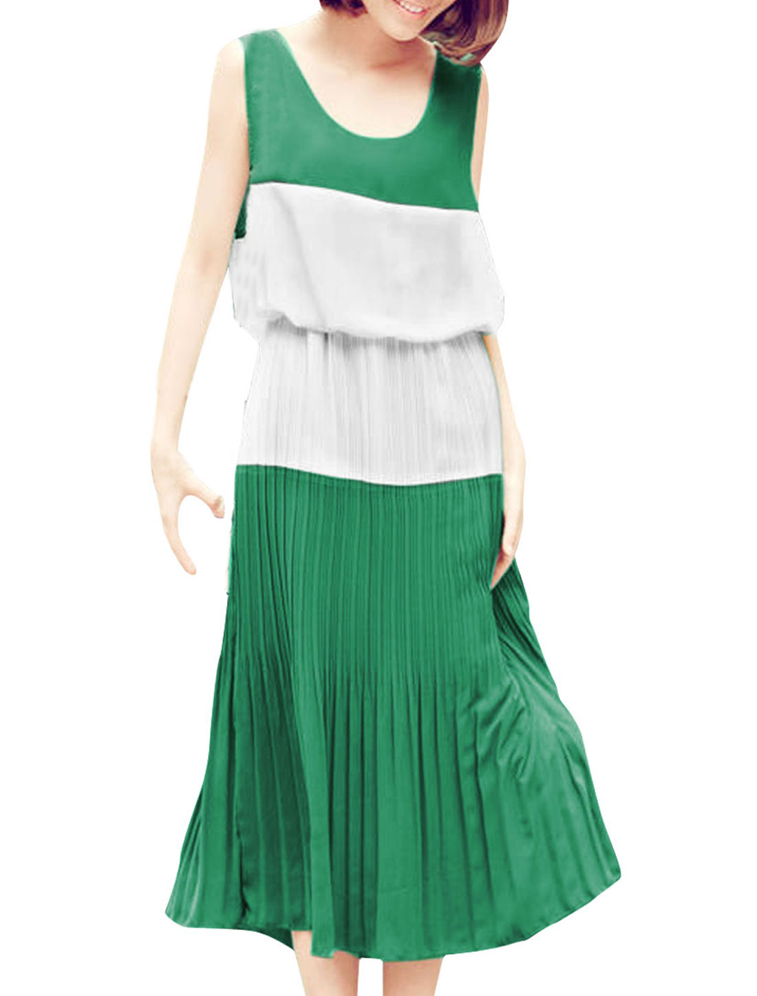 Woman Color Blocking Design Green White Splice Pleated Mid-Calf Dress XS