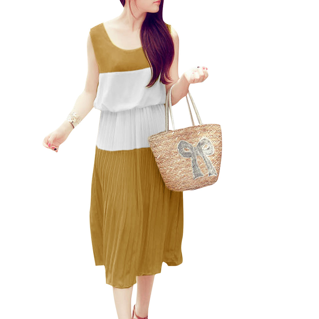 Ladies Scoop Neck Contrast Color Ochre White Splice Pleated Mid-Calf Dress XS