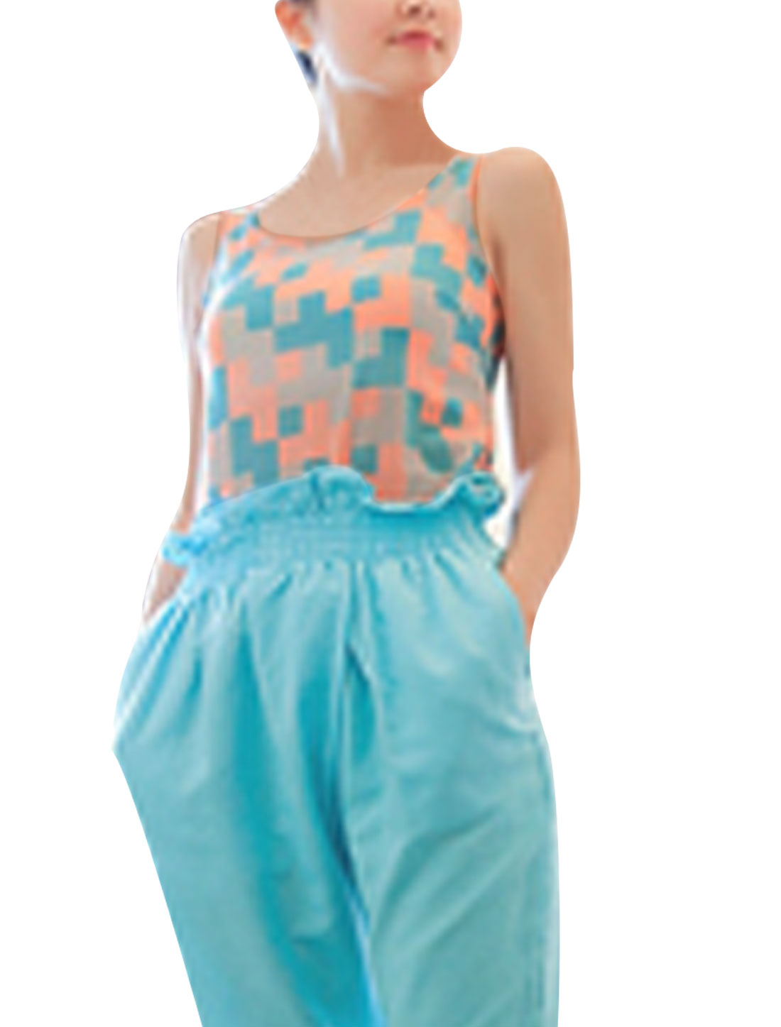 Ladies Pullover Sleeveless Semi Sheer Tank Top Turquoise Coral XS