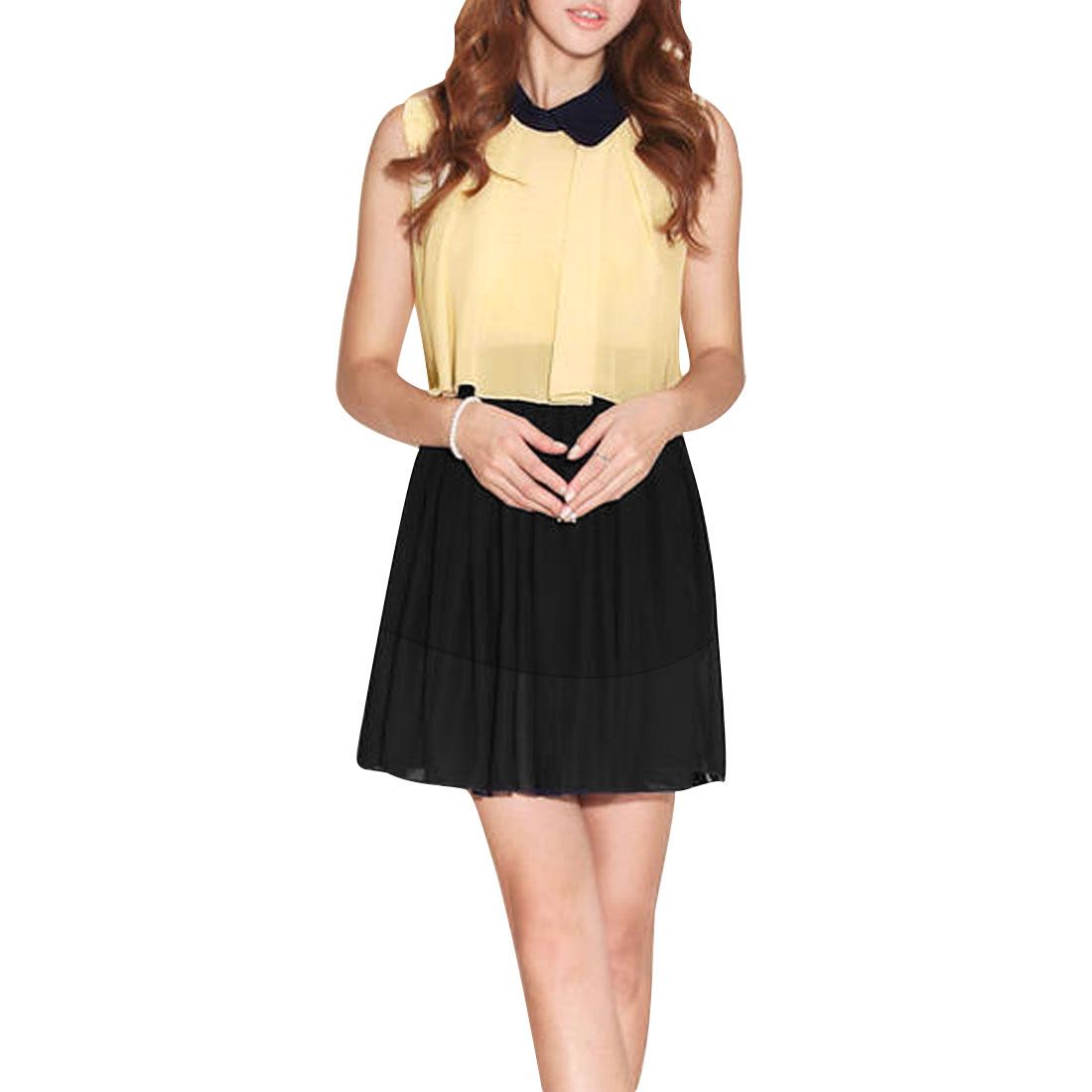 Woman Chic Contrast Color Design Splice Black Beige Mini Dress S