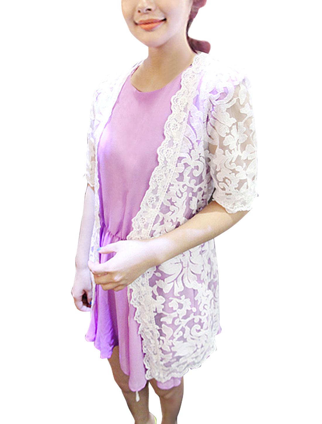 Women Crochet Design Short Sleeve Semi Sheer Drawstring Cardigan White XS