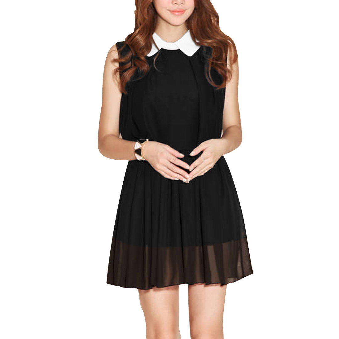 Ladies Chic Doll Collar Sleeveless Elastic Waist Splice Black Mini Dress S