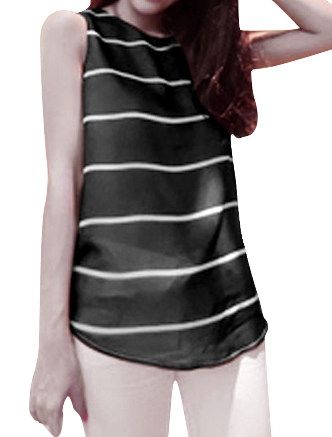Ladies Round Neck Sleeveless Stripes Tank Top Black XS