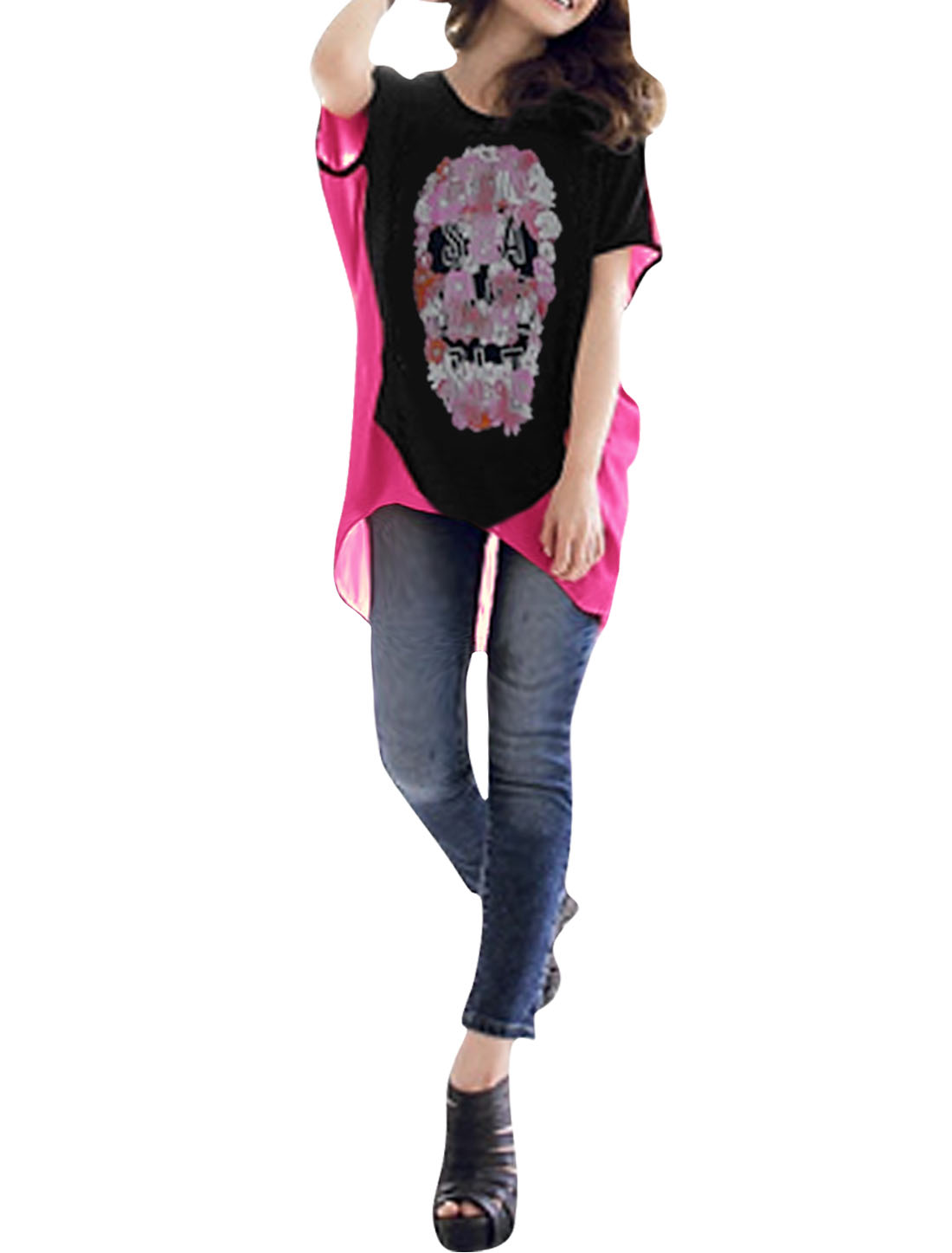 Ladies Batwing Sleeve Floral Prints Shirt Black Fuchsia S