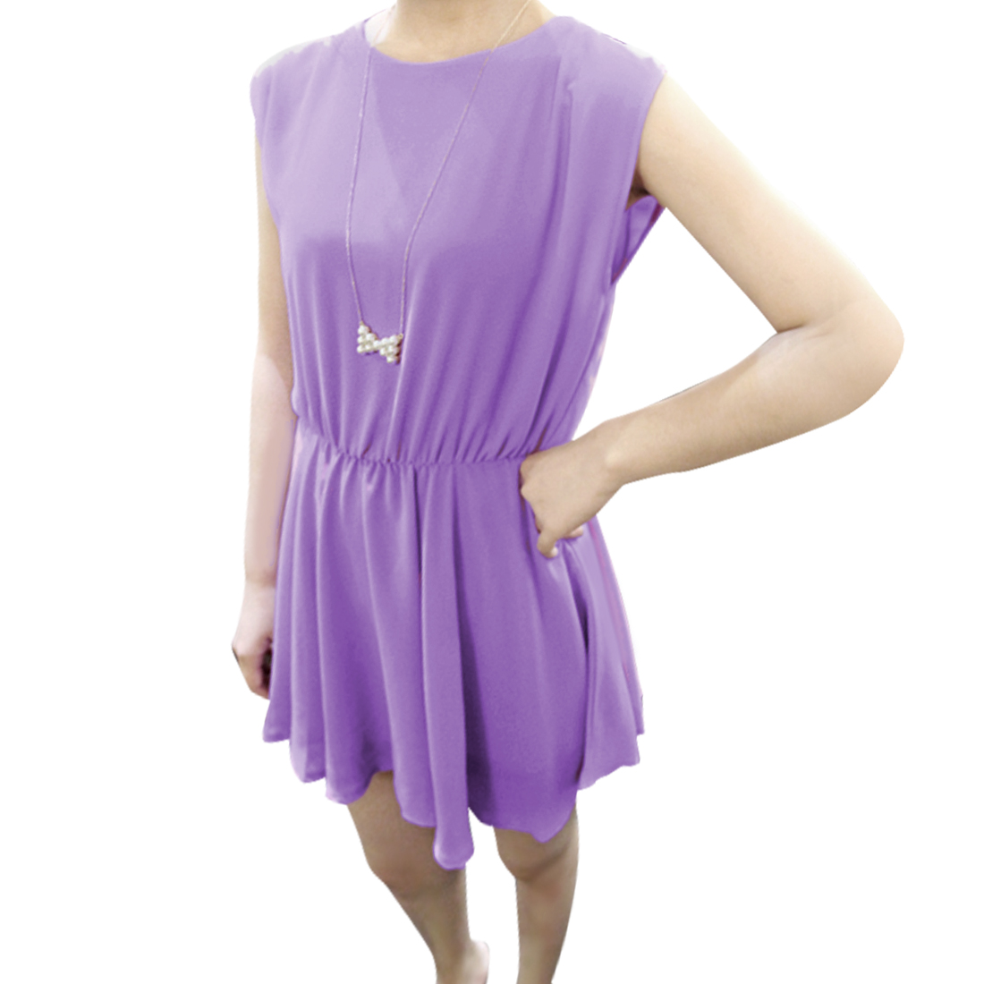Ladies Chic Round Neck Sleeveless Elastic Waist Lavender Mini Dress XS