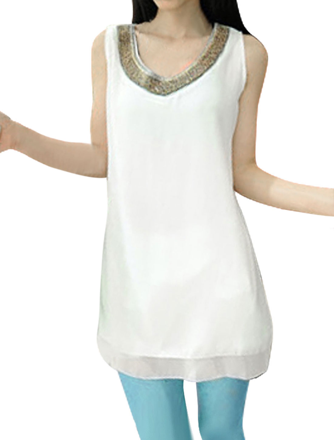 Women Sleeveless Style Round Neck Pullover Semi Sheer Tunic Shirt White XS