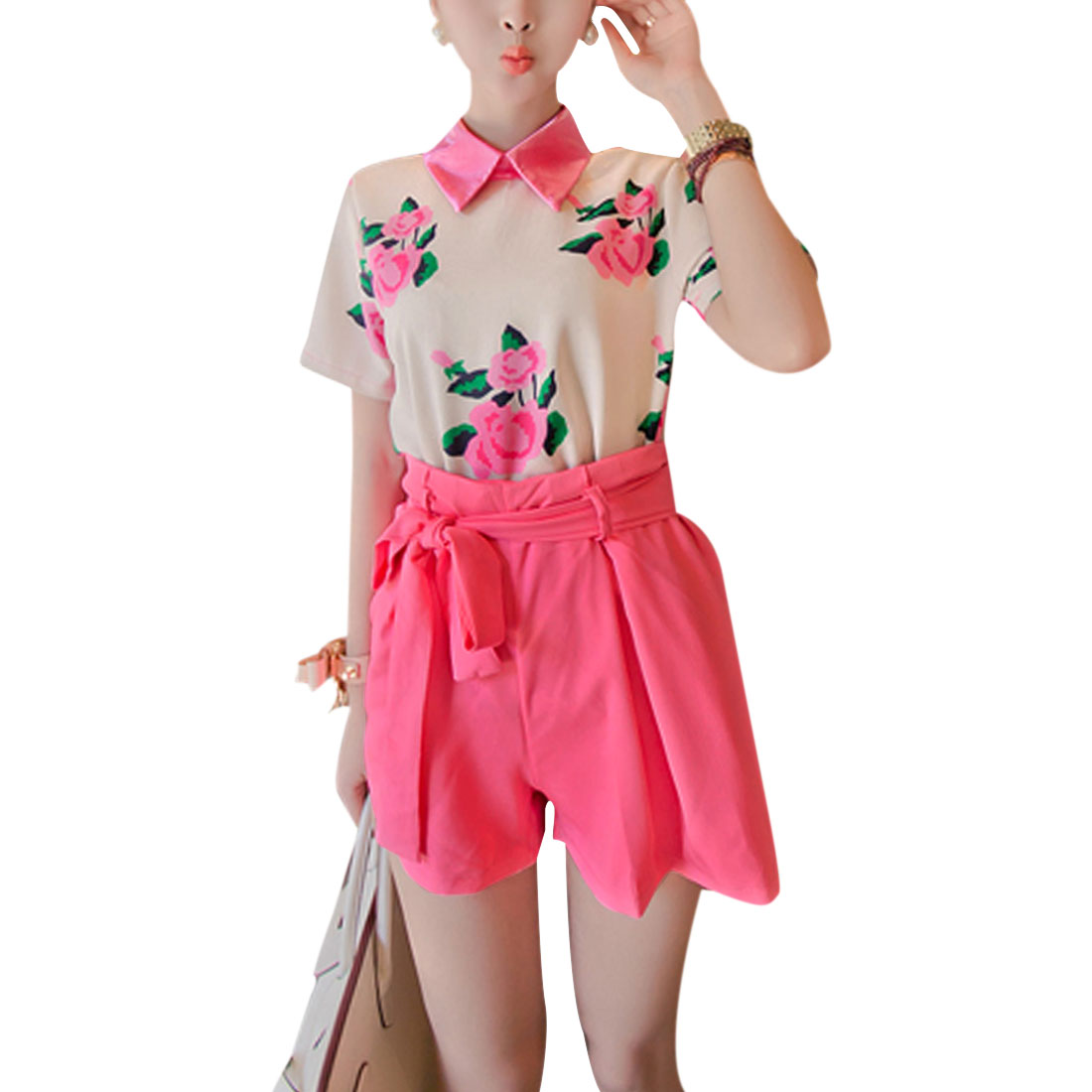 Lady Short Sleeve Flower Prints Blouse w Stretchy Waist Fuchsia Beige Shorts XS