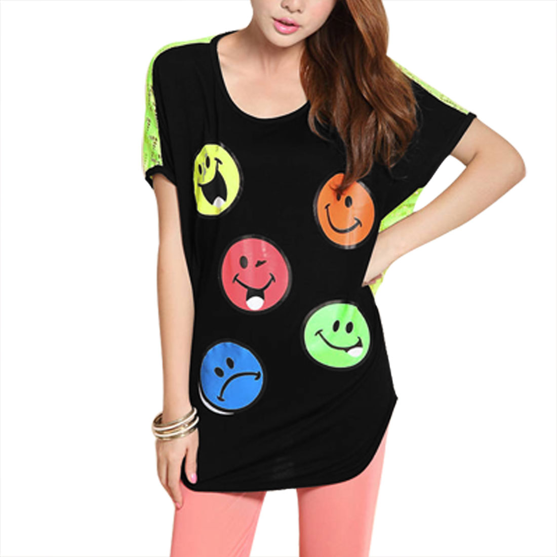 Lady Green Batwing Sleeve Smile Face Print Round Hem Tee Shirt L