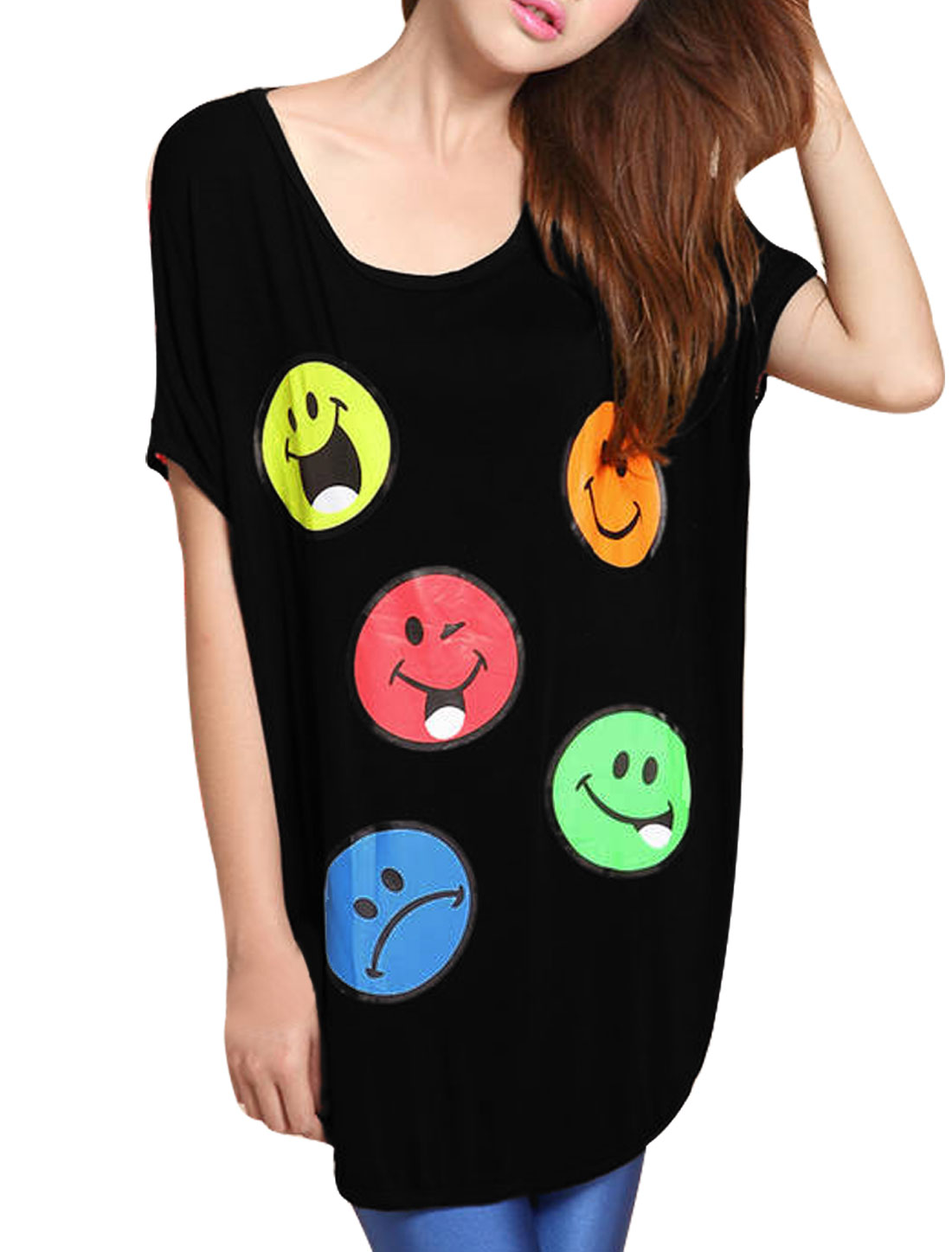 Lady Red Smile Face Print Round Neck Back Cutout Loose Tee Shirt L