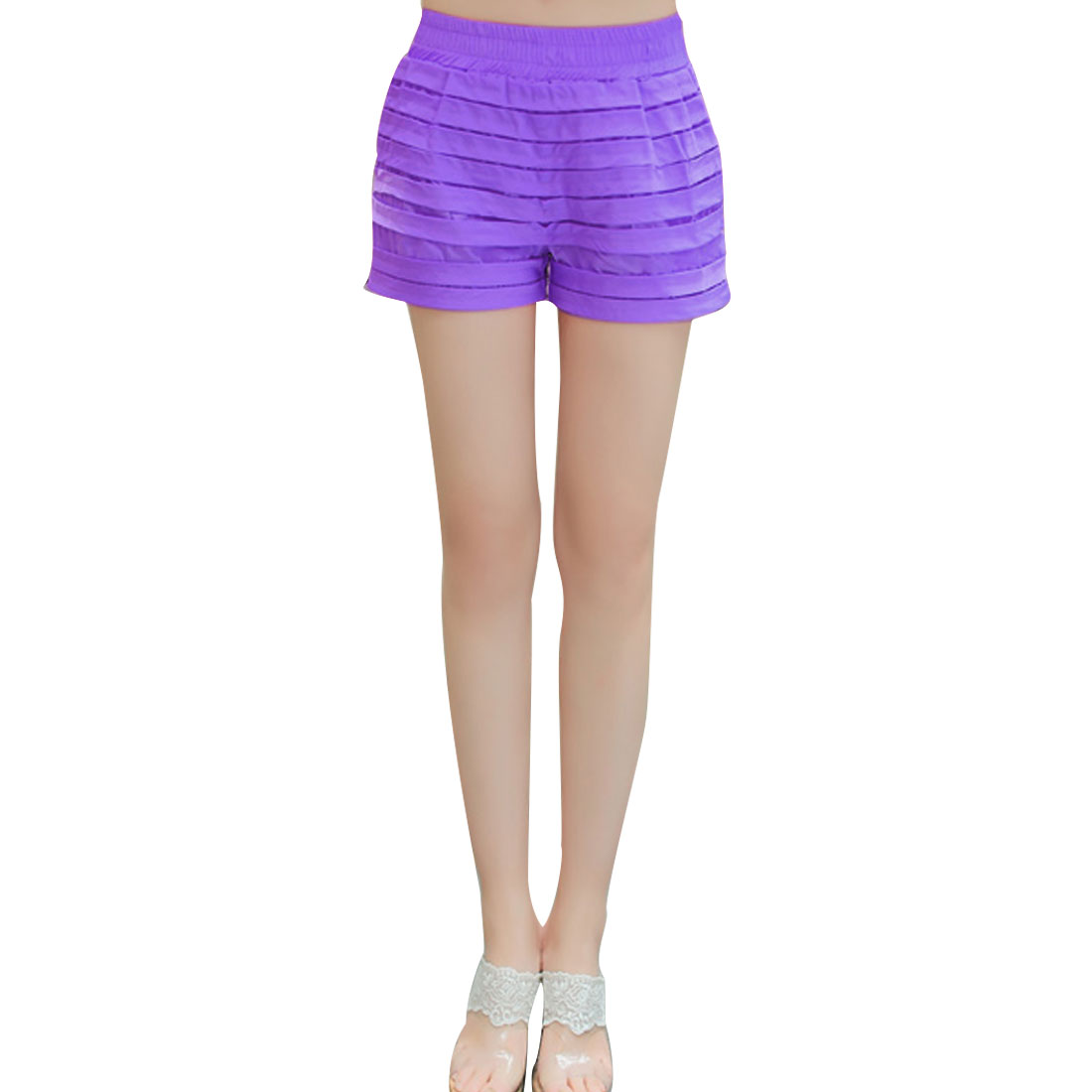 Ladies High Waist Slant Pockets Thick Fashional Shorts Purple XS