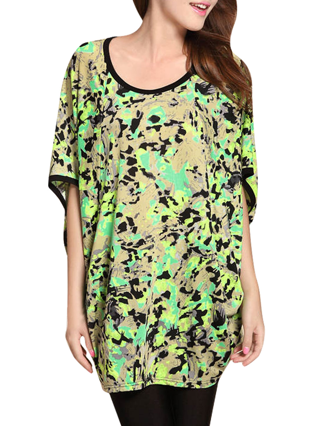 Women Camouflage Pattern Round Neck Batwing Sleeve Loose Tunic Shirt Lime XS