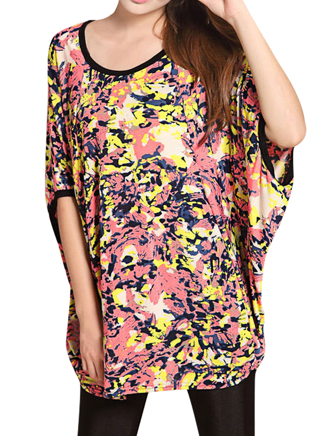 Pink Camouflage Pattern Pullover Dolman Sleeve Tunic Shirt for Women L