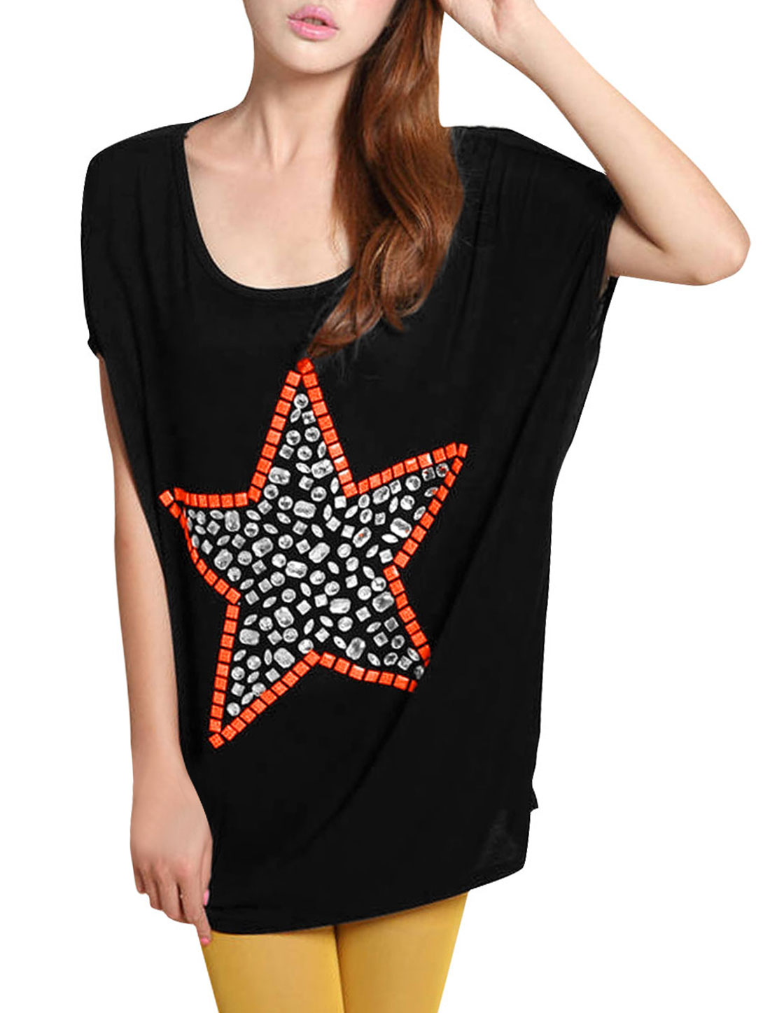 Woman Scoop Neck Short Dolman Sleeve Star Pattern Black Loose Shirt M