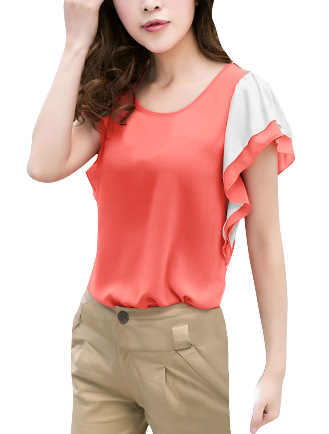 Ladies Chic Coral Pink Short Tiered Ruffles Sleeve Slim Fit Blouse S