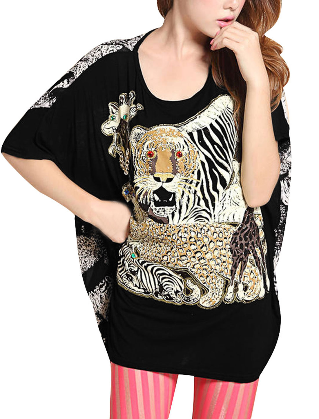 Ladies Round Neck Short Dolman Sleeve Tiger Pattern Design Black Shirt M