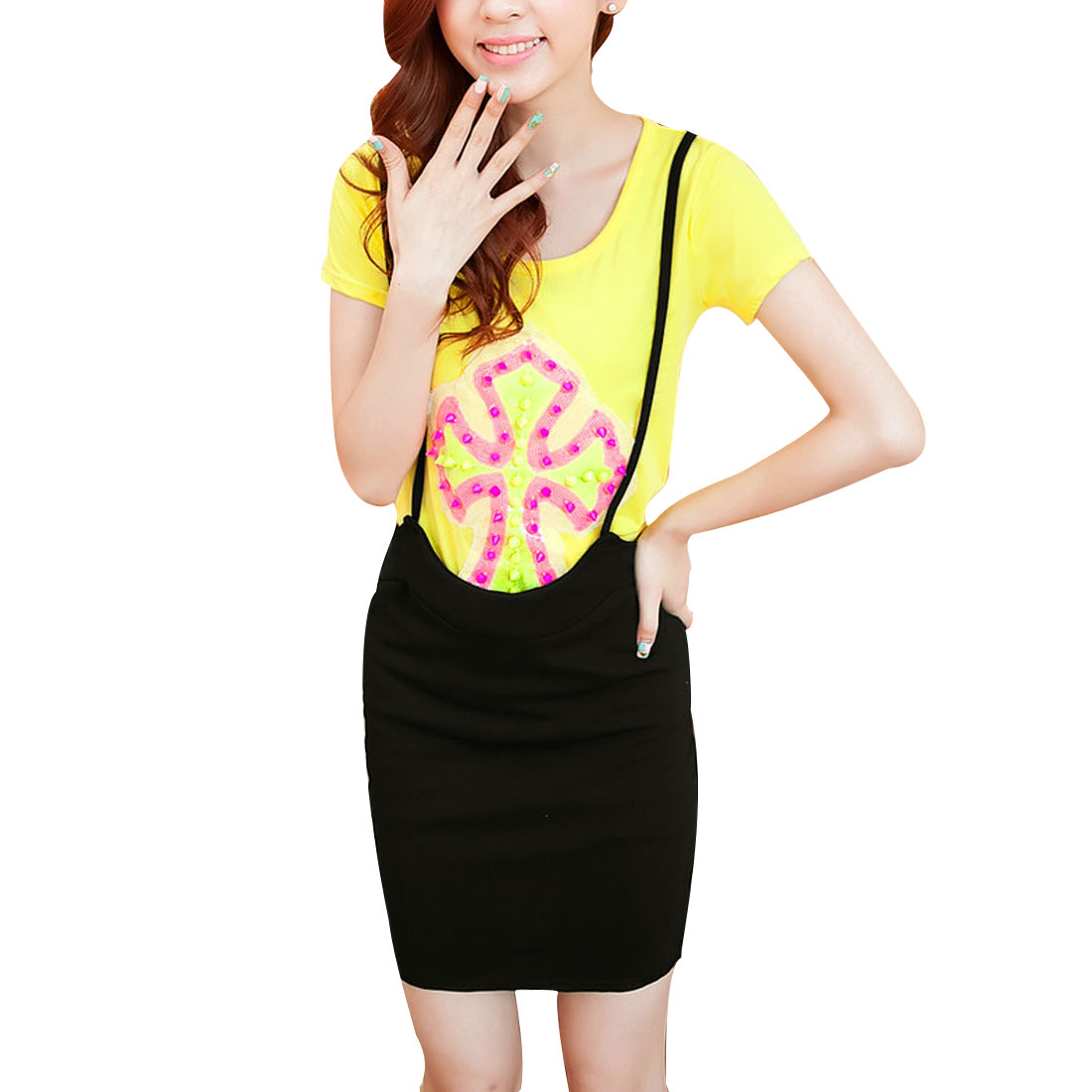 Women Rivets Decor Cross Prints Yellow Shirt w Black Suspender Skirt XS