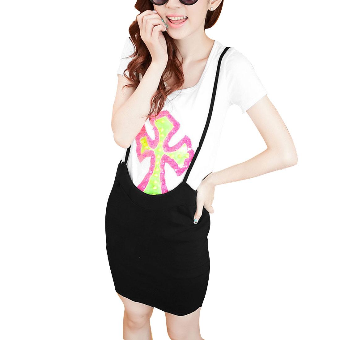 Woman Round Neck Short Sleeve White Shirt w Black Suspender Skirt XS