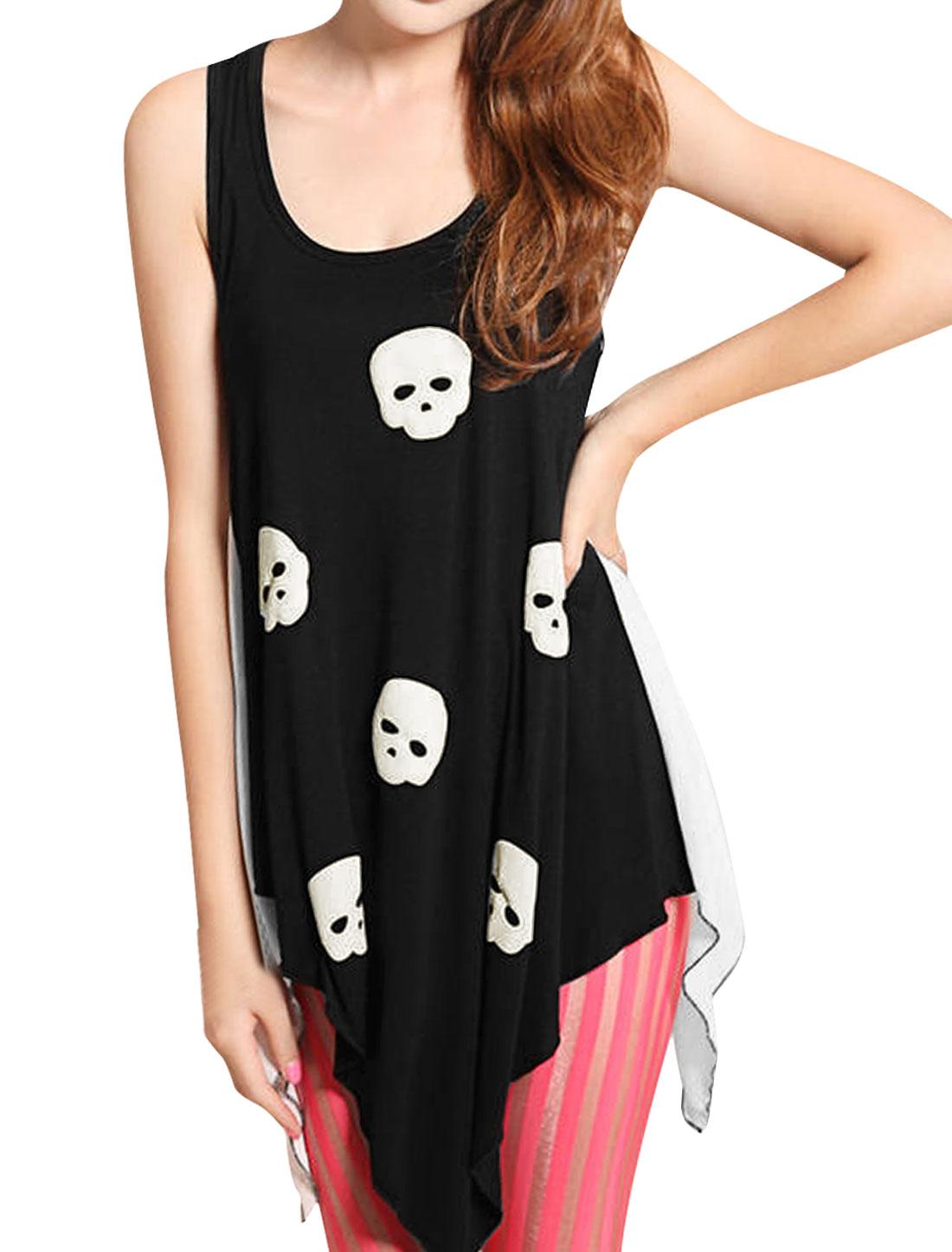 Lady White Irregular Hem Skull Print Pullover Sleeveless Top XS