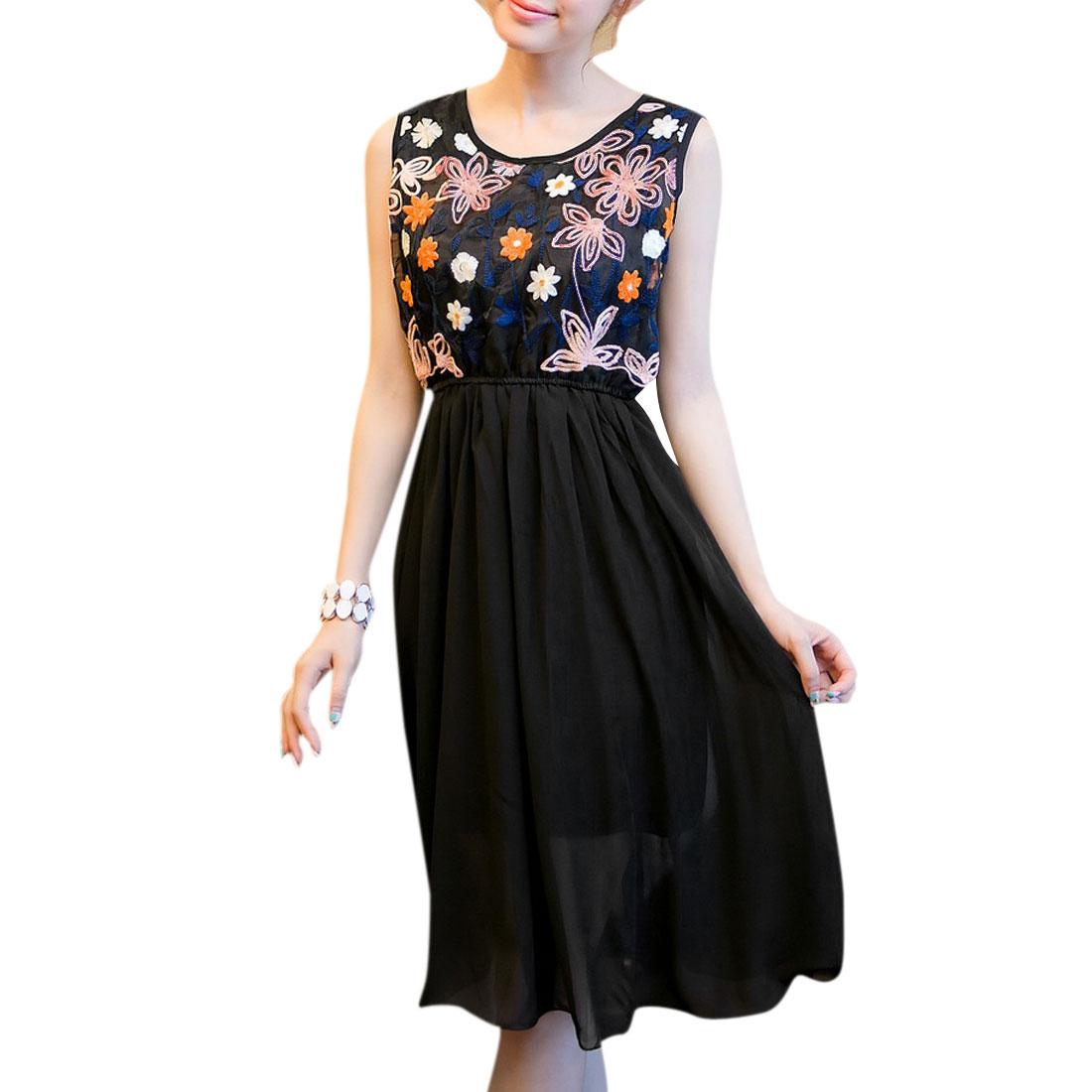 Women Newly Crochet Flower Front Semi-Sheer Hollow Back Black Dress S