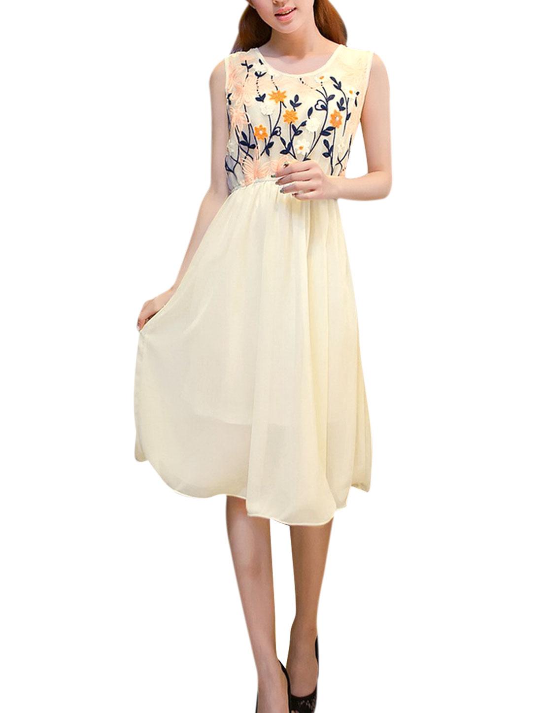 Woman Chic Crochet Flower Design Semi-Sheer Hollow Back Beige Dress S