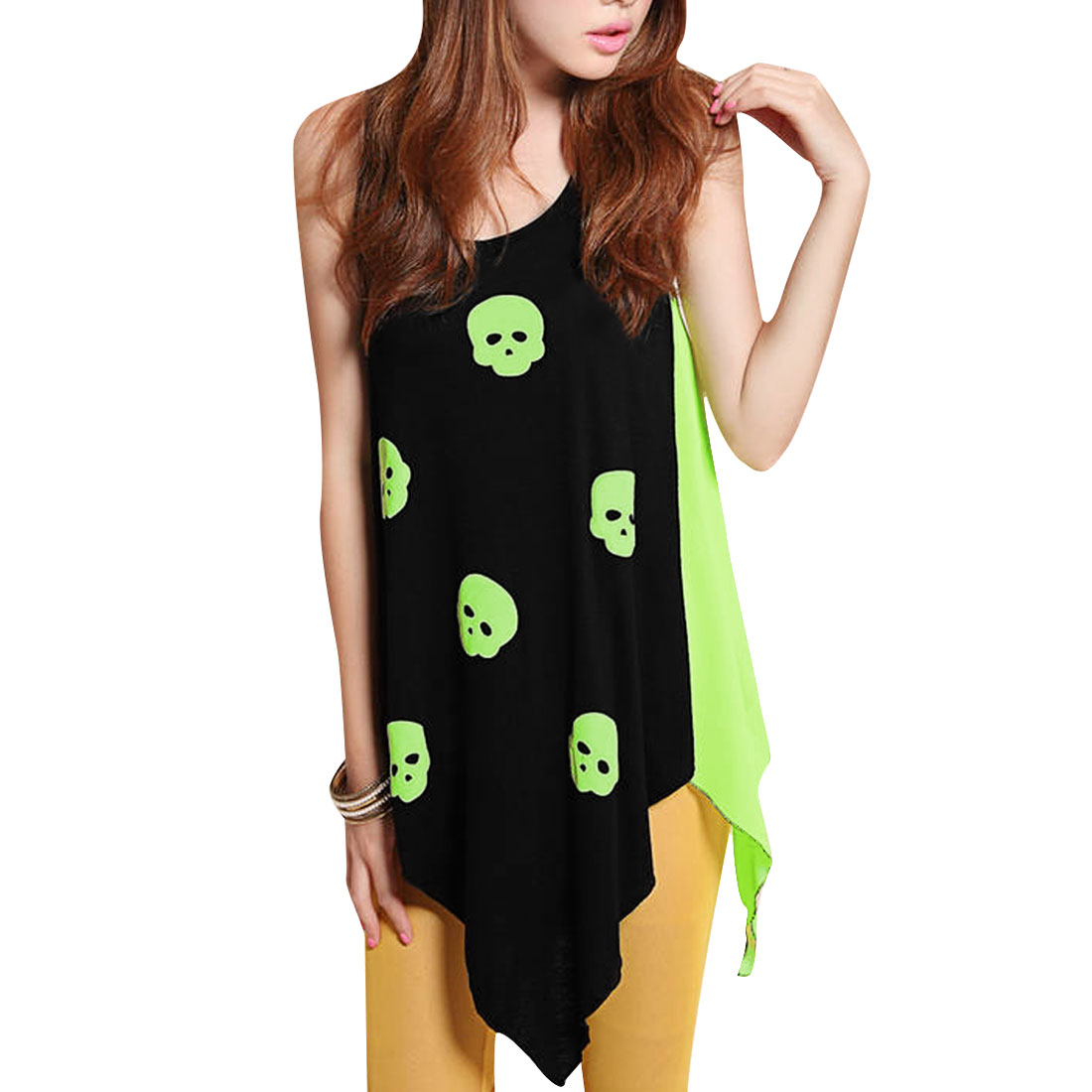 Lady Green Sleeveless High Low Hem Stretchy Skull Print Tank Top XS