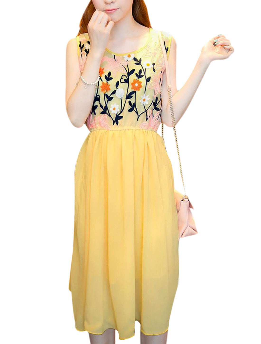 Ladies Round Neck Sleeveless Crochet Flower Hollow Back Light Yellow Dress S