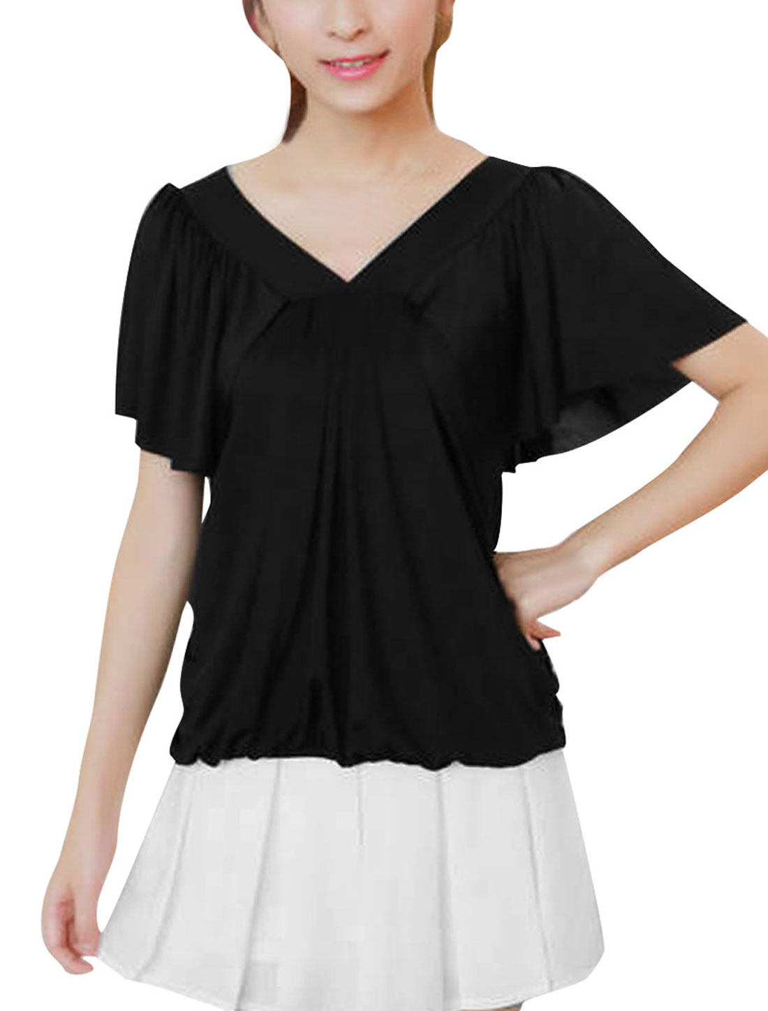 Woman New Fashion V Neck Short Flutter Sleeve Black Casual Shirt XS