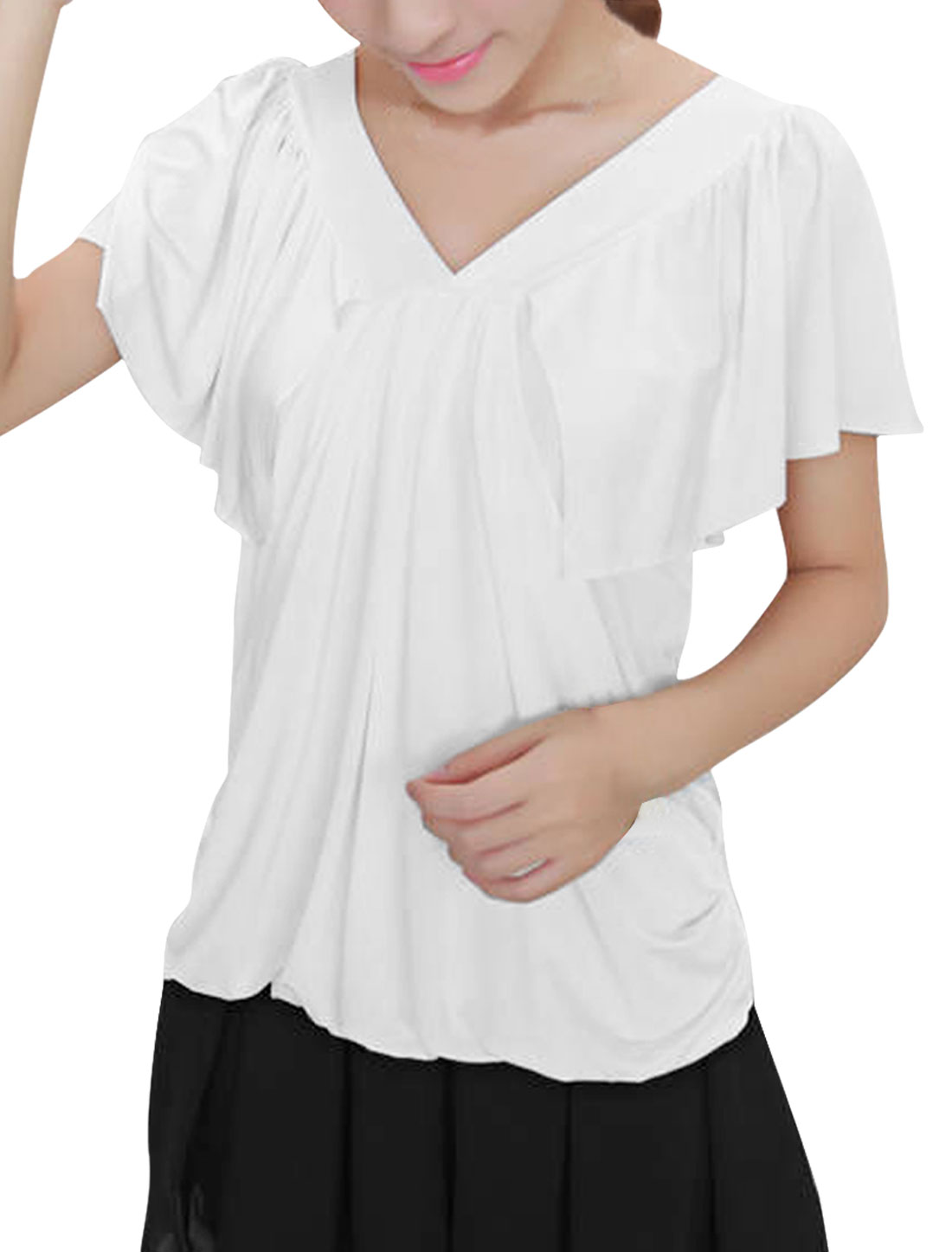 Woman Chic V-Neckline Flutter Sleeve Design Pure White Leisure Shirt XS