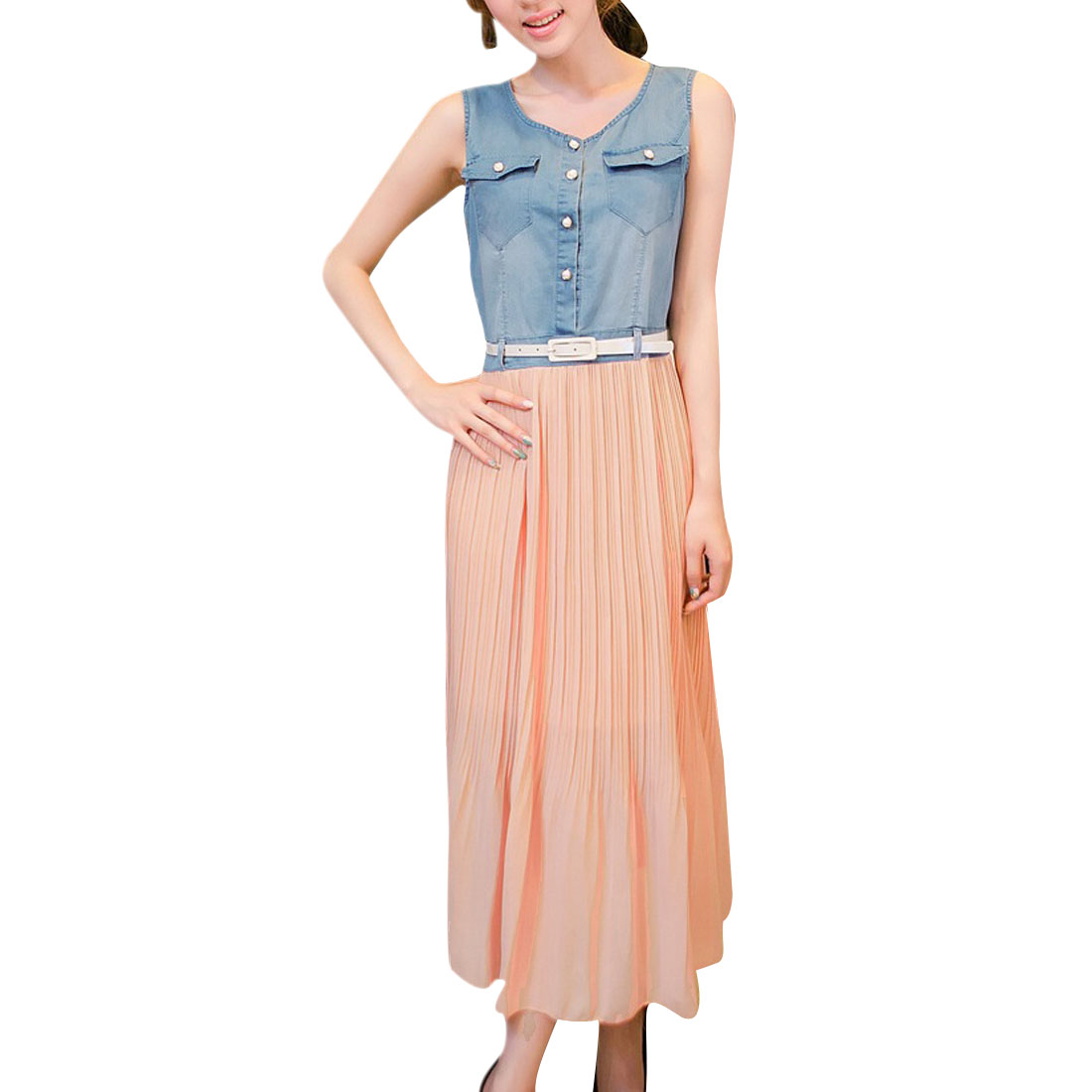 Woman Round Neck Button Front Blue Denim Upper Light Pink Chifon Dress XS