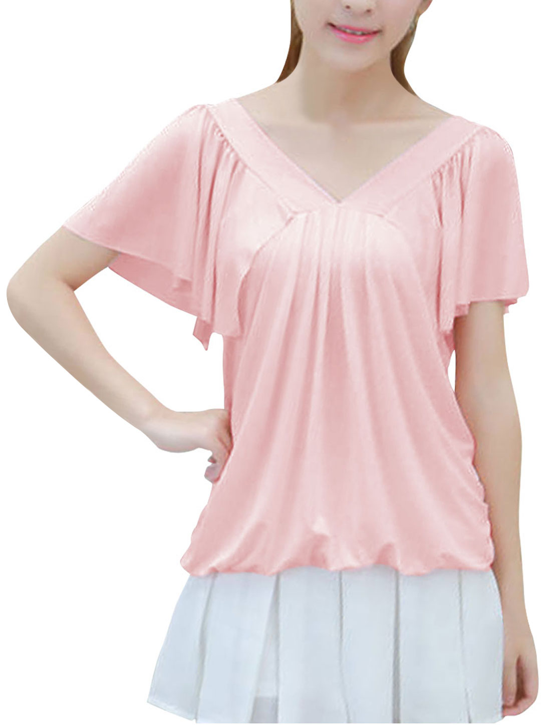 New Style Pure Light Pink V Neck Short Flouncing Sleeve Shirt for Lady XS