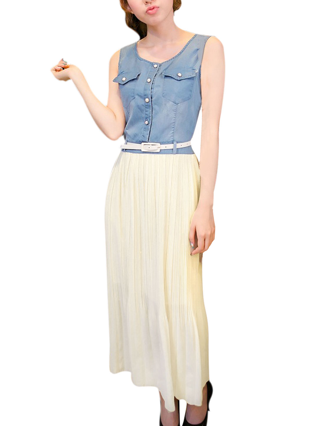 Lady Button Front Design Blue Denim Beige Chiffon Splice Long Dress