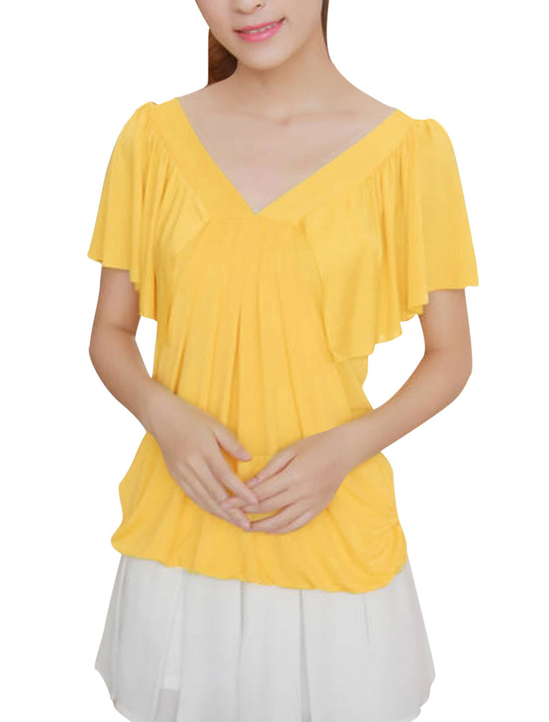 Women Stylish Light Yellow Solid Color Ruffles Sleeve Casual Shirt XS