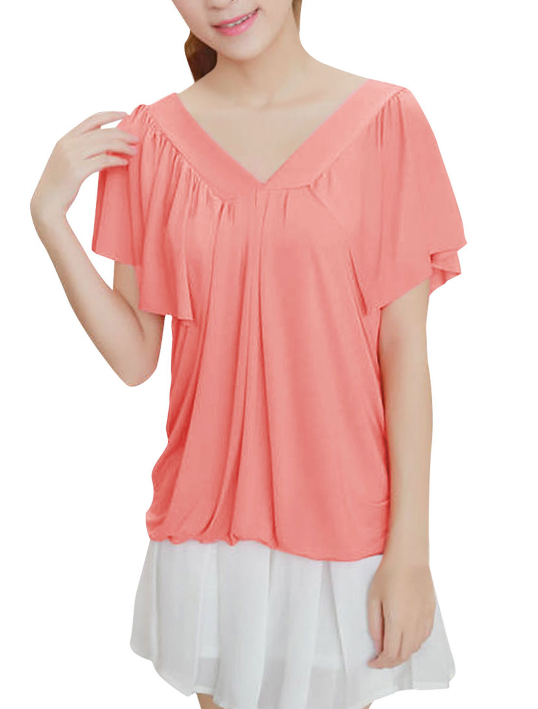 Ladies Chic V Neckline Short Ruffles Sleeve Design Coral Pink Top Shirt XS